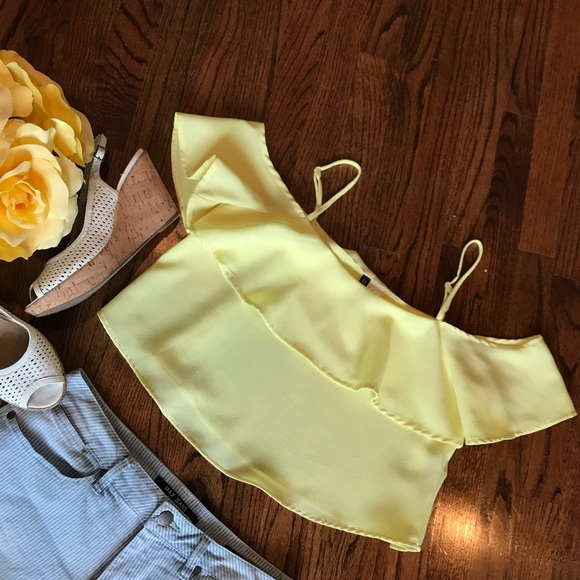 f70a2cea3ca H&M Tops | Hm Divided Yellow Off The Shoulder Top | Poshmark
